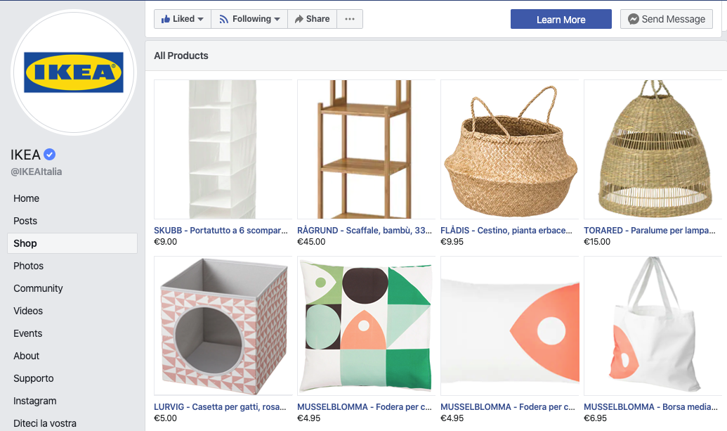 social commerce vetrina pagina facebook